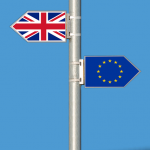 Flags showing UK and EU flags